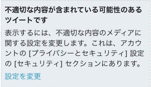 【解除方法】Twitterで自分のツイートが不適切(センシティブ)な内容と出で表示されない件